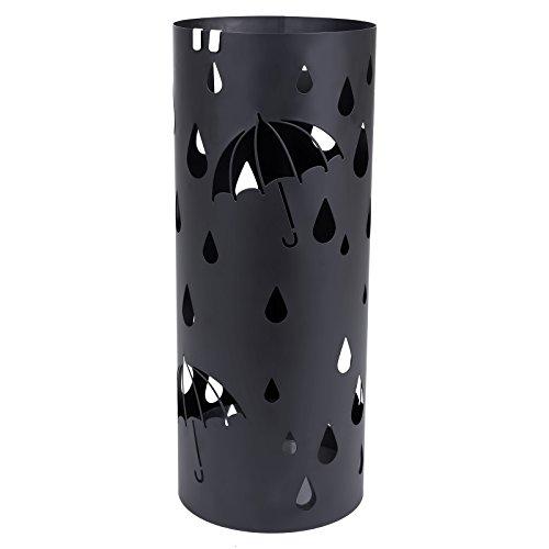 SONGMICS Metall Schirmständer mit Wasserauffangschale Haken rund Ø 19.5 x 49 cm Regenschirmständer