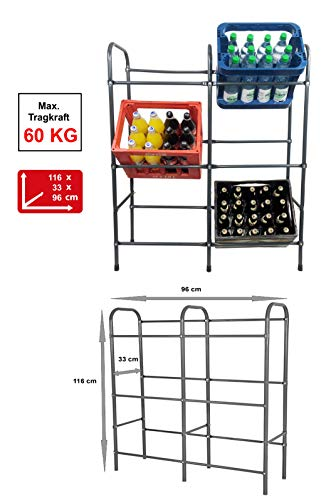 Izzy Getränkekistenregal für 6 Kästen, Regal aus Metall, Stahl Boxen-Regal zur platzsparenden Kastenhalterung, Kistenregal, Euroboxen, grau lackiert (6 Kisten)