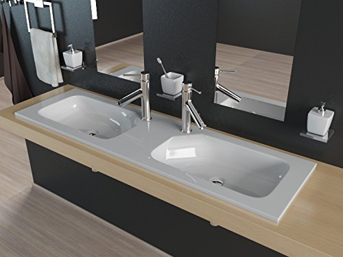 Kerabad Design Doppel-Einbauwaschbecken Waschtisch Doppel-Waschtisch Aufsatzwaschbecken aus Mineralguss 120cm KB-MN1200
