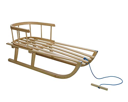 Holzschlitten für Kinder mit Rückenlehne Rodelschlitten Davoser Schlitten aus Holz mit Einem Sicherheitsgurt