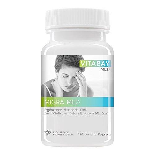 Migra MED - 750 mg Pestwurz Extrakt mit 200 mg Mutterkraut - Zur Behandlung von Migräne - Hilfe bei Kopfschmerzen (120 vegane Kapseln)