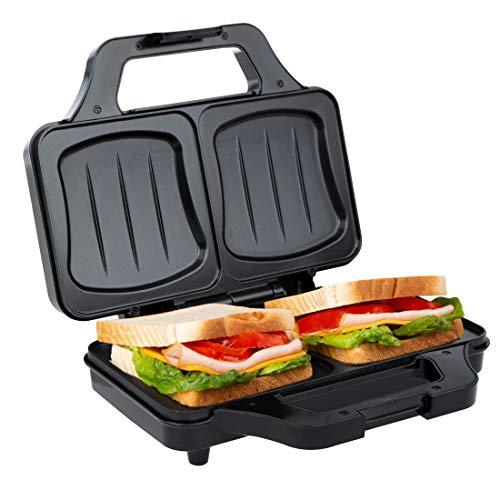 Ultratec Sandwichtoaster, elektrischer Muschelform, Sandwichmaker für XXL Toast, antihaftbeschichtete Platten, mit Temperaturkontrollleuchte, 900 Watt, schwarz-Silber