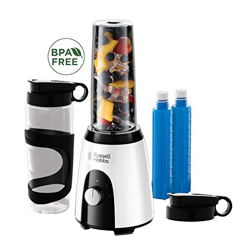 Russell Hobbs Smoothie Maker Mix&Go Boost Horizon, 2 BPA-freie & spülmaschinenfeste Tritan-Behälter 600ml, Deckel + Kühlakkus, 23.000 U/min, Ice-Crush, elektrischer Zerkleinerer, Standmixer 25161-56