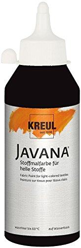 Kreul 91310 - Javana Stoffmalfarbe für helle Stoffe, brillante Farbe mit cremigem Charakter, 250 ml Flasche, schwarz