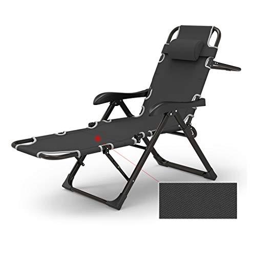 CYLQ Draussen Schwerelosigkeits-Lounge-Sessel Einstellbar Falten Terrassenliege,Zum Garten Am Pool Strand Tragbarer Innenhof Liegend Schwarz, 95 * 65 * 15 cm (Farbe : Schwarz)