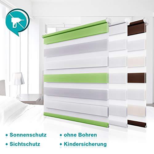 Homland Doppelrollo Klemmfix Duo Rollo ohne Bohren Easyfix Seitenzugrollo 80x150cm (BxH) Weiß lichtdurchlässig und verdunkelung Wand- und Deckenmontage für Fenster & Türen