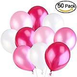 NUOLUX Luftballons,Latexballons,3,2 g rosa Hochzeit Party Ballons, hohe Qualität, 4 Farben, 50 Stück