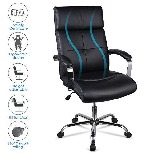 INTEY Bürostuhl, Chefsessel mit Einstellbarer Rückenlehne, Design PU Bürosessel, Höhe und Neigungswinkel verstellbar, Ergonomischer Schreibtischstuhl mit Armlehne, 120kg belastbar für Office, schwarz
