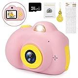 LeaderPro Mädchen Kamera Kinderkamera 2 Objektive, 8MP, 1080P HD Videofunktion, 2.0' Farbdisplay, Deutsche Version, Digitalkamera Geschenk für Kinder PINK + 16 GB TF Karte (Rosa)