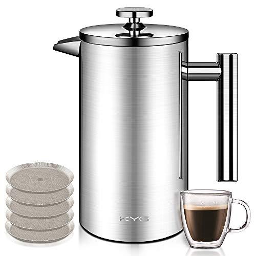 KYG Kaffeebereiter aus Edelstahl French Press System mit 5 Edelstahlfilter Doppelwandige Kaffeekanne Teekanne 1L