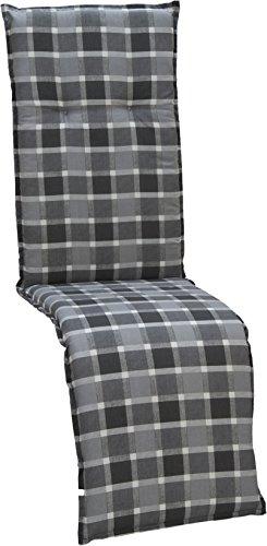 beo Gartenstuhlauflagen Saumauflage für Relaxstühle Karo, circa 47 x 168 cm, grau / schwarz / mehrfarbig