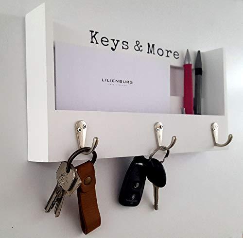 LB H&F Schlüsselkasten Schlüsselschrank Schlüsselbrett Weiss Holz mit Ablage für Briefe, Stifte