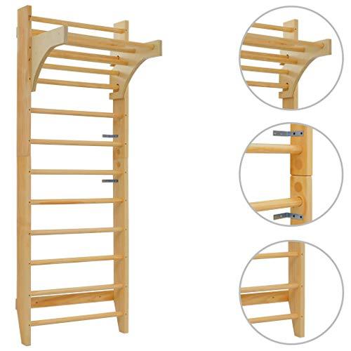 vidaXL Holz Sprossenwand mit Höhenverstellbarer Stange Kletterwand Turnwand Klettergerüst Heimsportgerät Gymnastik Fitness Kinder Erwachsene 80x55x220 cm