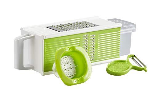 Golden Castle Küchenhobel mit Auffangbehälter | Vierkantreibe inkl. Sparschäler und Fingerschutz | Gemüsehobel Gemüseschneider