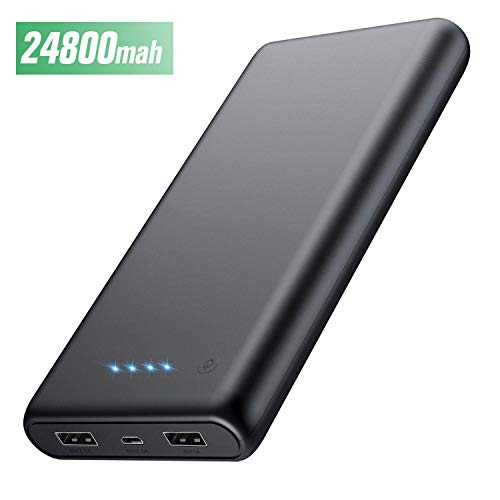 HETP Powerbank 24800 mah Externer Akku Power Pack Ladegerät Ultra Kompakter Dual Output Extrem hohe Kapazitat Tragbares Ladegerät Externer Batterie Pack für iPhone, iPad, Samsung, Huawei und mehr
