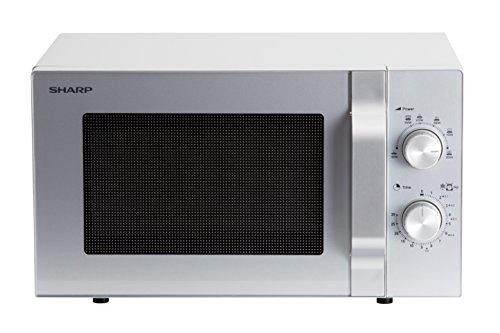 SHARP R204S Mikrowelle / 800 W / 20 L / Auftauautomatik / Einfache mechanische Bedienung / Auftauautomatik / Silber