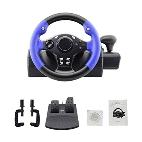 Mel lem 7-in-1 Lenkrad Driving Force Vibration Rennrad und Pedale kompatibel mit Ps4/PS3/Pc/Xboxone/Xbox360/Switch/Android 250 mm (9,8 Zoll)