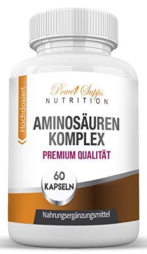 Aminosäuren-Komplex - Alle 18 Aminosäuren inkl. aller 8 essentiellen Aminosäuren - hochdosierte Kapseln - Muskelaufbau - Hergestellt in Deutschland
