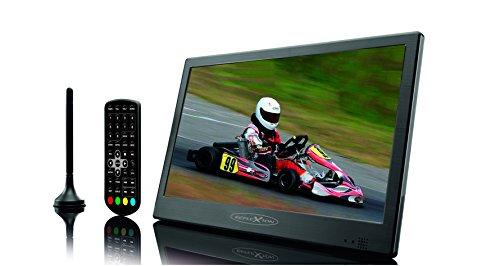 Reflexion LED1017 T2 HD Tragbarer 25,4 Cm (10 Zoll) LED-TV mit DVB-T2 Antenne, Fernbedienung, 12V Adapter, Netzteil, EPG, HDMI, schwarz