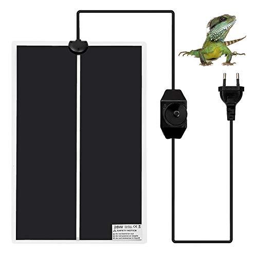 Surenhap Heizmatte Terrarium, Haustier Terrarium Heizung Heizer Reptil Amphibien mit EU Stecker & einstellbarem Temperaturregler Heizfolie Wärmematte Reptilien - 28W, 28 * 53cm