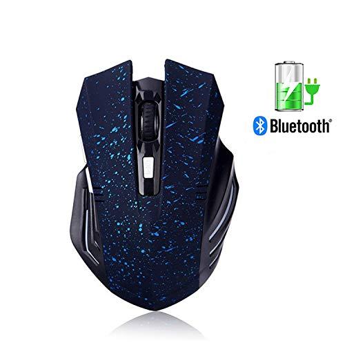 Bluetooth Silent Wiederaufladbare Gaming Mouse - Tsmine Geräuschlos und leise Klicken Sie auf Wireless Gaming & Office Laptop Tablet Ergonomische Mäuse mit 6 Tasten, 3 einstellbare DPI - Schnee blau