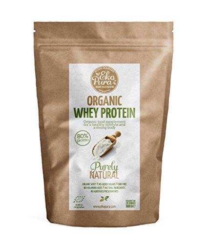 Bio Whey Protein - Purely Natural - 80% Protein - Bio zertifiziert - Bio Molkenprotein aus glücklichem Gras gefütterte Kühe - Frei von Additiven - 500g