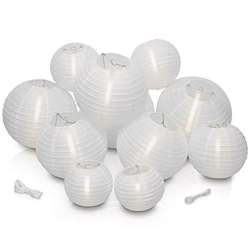 LyghtToned [10+1Gratis] wiederverwendbare Lampions zur Dekoration inkl. [20 Meter Schnur] I Weiße Papierlampions für drinnen & draußen (versch. Größen) I Lampion, Papierlampe