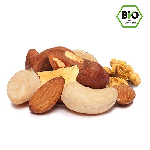 Bio Nussmischung, Edelnussmischung 1kg mit hochwertigen Nüssen in Rohkost-Qualität mit viel Protein ohne Erdnüsse, ohne Salz und Zucker, naturbelassen, unbehandelt, nicht geröstet