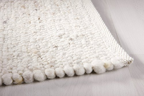 Moderner Landhaus Teppich Handwebteppich Fjord aus hochwertiger Schurwolle für Wohnzimmer Schlafzimmer und die Küche geeignet und beidseitig legbar echte Handarbeit Farbe 1 natur meliert 090x180 cm