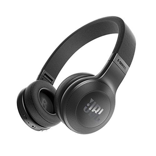 JBL E45BT On-Ear Ohraufliegender Bluetooth Kopfhörer Faltbar Inkl. Abnehmbares Verwicklungsfreies Textilkabel mit Universeller 1-Tasten-Fernbedienung mit Integriertem Mikrofon - Schwarz