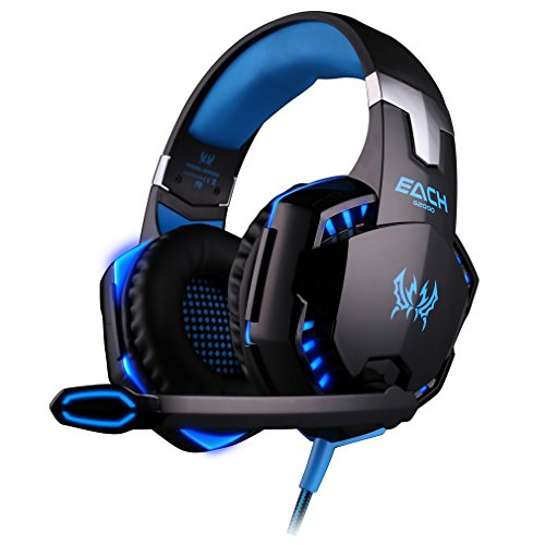 Tsing each G2000 Professionelle 3,5mm PC LED-Licht Gaming Bass Stereo Noise Cancelling Über-Ohr Kopfhörer-Mikrofon mit HiFi-Treiber für Laptop-Computer - Lautstärkeregelung