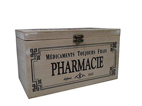 khevga Aufbewahrungsbox mit Deckel: Holz-Box Medikamente Deko