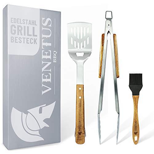 VENETUS-BBQ Grillbesteck extra lang aus edlem Akazienholz | Premium Grillzubehör 3 teilig: Grillzange, Grillwender und Grillpinsel | Ideales Grill-Geschenk für Männer