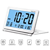 Kleiner Digital-Wecker Reisewecker Faltbare Hintergrundbeleuchtung, LCD-Anzeige Wecker mit Datum, Temperatur, Snooze wiederholen und Pu-Lederetui von CESHUMD