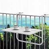 Balkontisch 60x40cm Weiß, Tischplatte klappbar und 3-Fach höhenverstellbar, Hängetisch Gartentisch Klapptisch