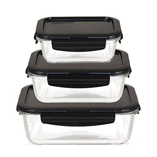 LOCK & LOCK Frischhaltedosen aus Glas mit Deckel, 3er Set eckig & klein- OVEN GLASS - Kühlschrank & Einfrieren - Auflaufform Backofen & Mikrowelle