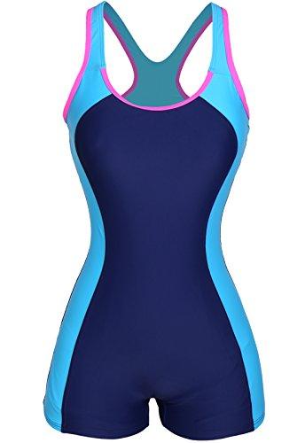 CROSS1946 Damen Figurformend Color-Block Sport Bademode Badeanzug Blau-3 X-Large