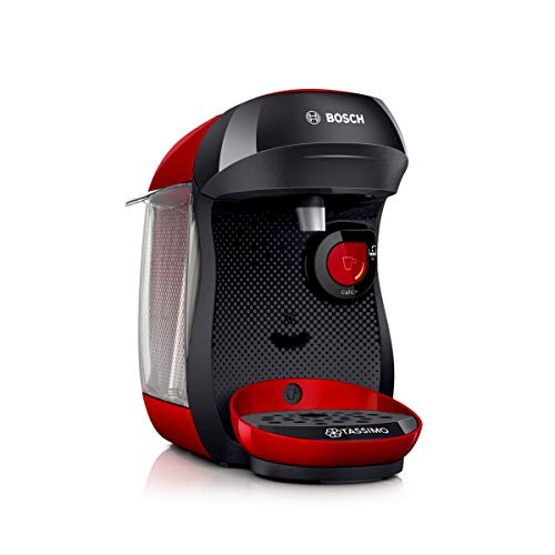 Bosch TAS1003 Tassimo Happy Kapselmaschine (1400 Watt, über 40 Getränke, vollautomatisch, einfache Zubereitung, platzsparend, Behälter 0,7 L) rot