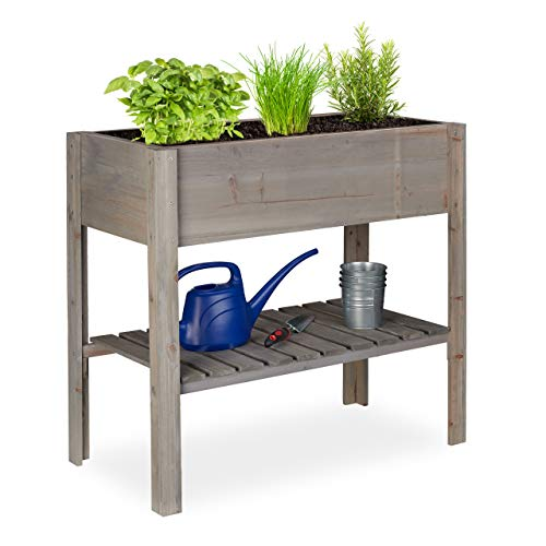 Relaxdays Hochbeet Holz, Ablagefach, Pflanzkasten Balkon, Terrasse, Garten, Kräuterbeet, HBT 80 x 88 x 43,5 cm, grau
