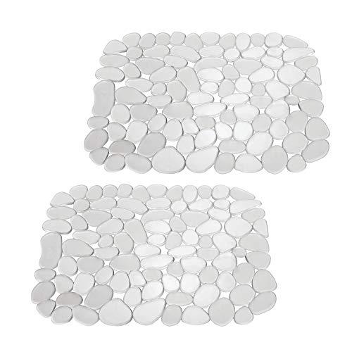 mDesign 2er-Set Spülbeckenmatte aus Kunststoff – auch als Abtropfmatte nutzbar – zuschneidbare Schutzmatte gegen Kratzer im Spülbecken – mit Kieselstein-Muster – durchsichtig