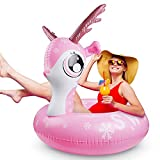 Schwimmring Aufblasbar Tier, Schwimmreifen Luftmatratze Hirsch PVC Strand Sommer Wasser Spa? Outdoor Pool Kinder Erwachsene(Rosa)
