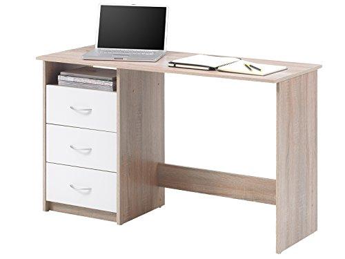 Schreibtisch Computertisch Arbeitstisch Bürotisch Laptoptisch Büromöbel 'Mack I' Sonoma-Eiche/Weiß