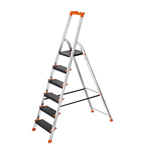 SONGMICS Leiter 6 Stufen, Aluleiter mit 12 cm breiten Stufen, Stehleiter mit Werkzeugschale, Klappleiter mit Anti-Rutsch-Füßen, max. statische Belastbarkeit 150 kg GLT06BK