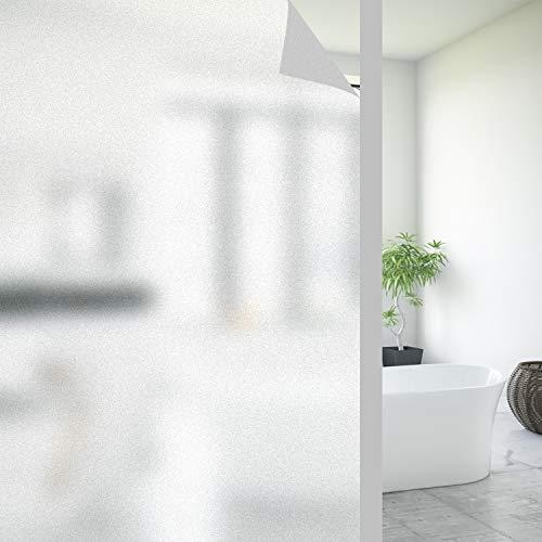 FORTUNAM Fensterfolie Sichtschutzfolie Milchglasfolie Glasfolie Selbstklebend Folie Fenster Statische Haftung Blickdicht Privatsphäre Scheibenfolie Anti-UV Folie für Bad Badzimmer (90 x 200cm)
