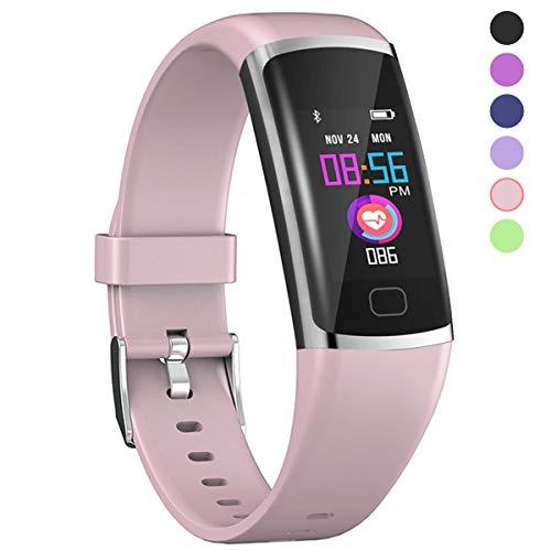 Polywell Fitness-Tracker, Aktivitätstracker mit Herzfrequenz-Monitor und Schlaf-Monitor, Bluetooth, wasserdicht, Schrittzähler und Kalorienzähler für Android und iOS (Pink)