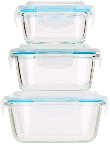 Rosenstein & Söhne Glasbehälter: 5in1 Glas Frischhaltedosen Set, 6 tlg., Clip-Deckel, -40 bis +400 C° (Glasdose)