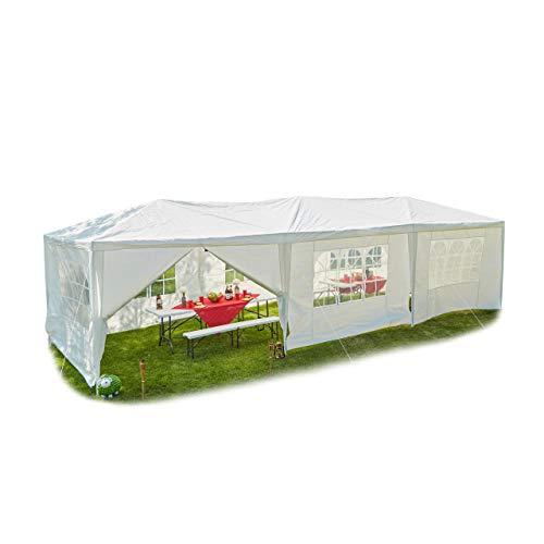 Relaxdays Pavillon 3x9, mit Seitenteilen, Fenster, Festival, Gartenpavillon für Partys, PE-Dach, Stahl, 300x900 cm, weiß