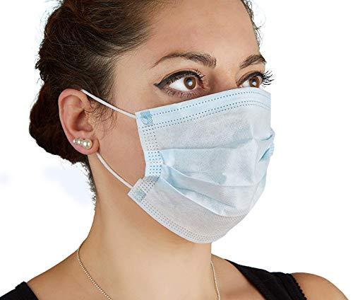 Mundschutz Maske OP Blau 50 Stück 3-lagig mit Elastikband in Komfortlänge mit Nasenbügel Latexfrei