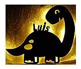 Led Dinolampe Lampe Deko Kinder Wandlampe Dino mit Name personalisiert Geschenke für Dinosaurier Kinderzimmer Dinozimmer Jungen Mädchen