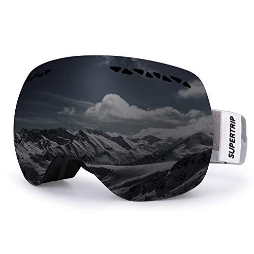 Supertrip Skibrille Damen Herren Snowboardbrille OTG verspiegelt Ski-Schutzbrillen 100% UV400 Schutz für Brillenträger Antifog (Schwarz (VLT 13%))